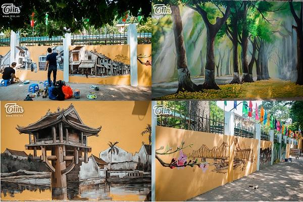 """Hà Nội cổ kính đẹp mê mẩn qua """"phố bích họa"""" trên tường trước cổng trường THPT Phan Đình Phùng"""