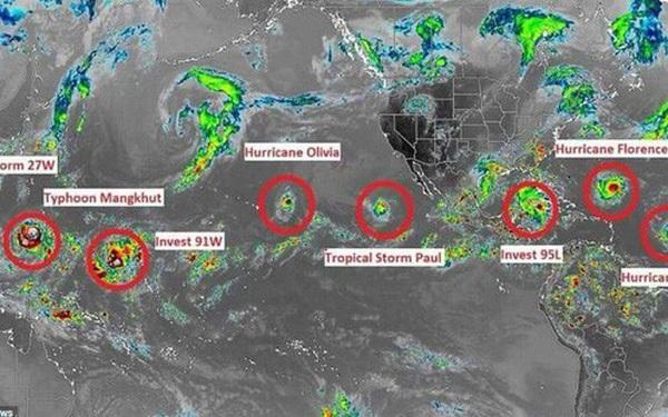 Siêu bão Mangkhut là một trong 9 cơn bão xuất hiện cùng lúc trên toàn cầu, điều gì đang xảy ra?