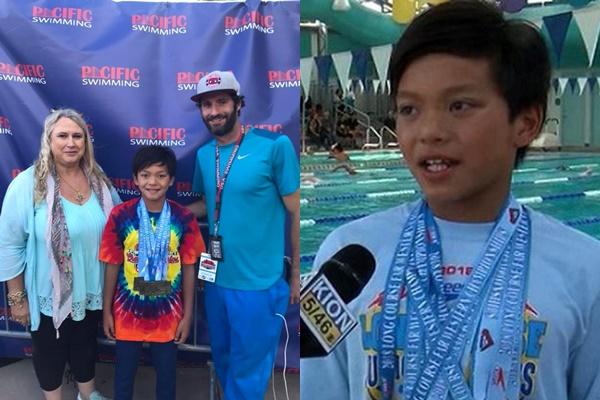 Cậu bé 10 tuổi bất ngờ xô đổ kỷ lục của siêu kình ngư Michael Phelps ở nội dung 100 m bơi bướm