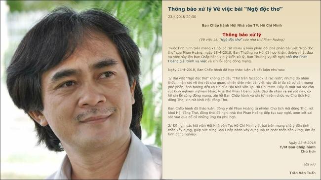 """Chủ tịch Hội đồng Thơ TP HCM xin từ chức sau khi bị """"ném đá"""" vì ví thơ trên Facebook với rác"""