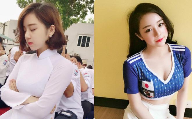 """""""Hot girl ngủ gật"""" hot trở lại với vai trò fangirl của đội tuyển Nhật Bản cổ động World Cup 2018"""