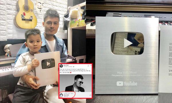 """Hoa Vinh khoe nhận nút bạc Youtube với clip 10 triệu view, còn đổi tên tự nhận mình là """"nghệ sĩ""""?"""