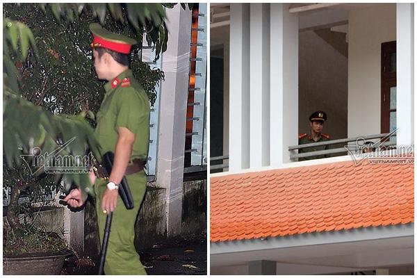 Hàng chục chiến sĩ canh gác địa điểm tiến hành kiểm tra điểm thi THPT Quốc gia tại Sơn La