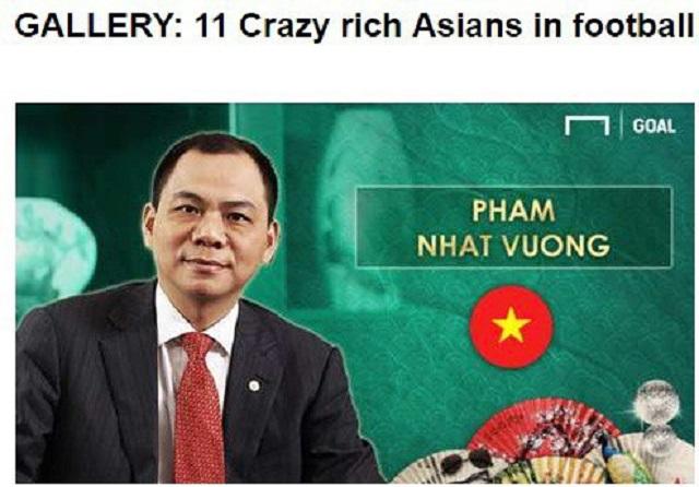 Tỷ phú Phạm Nhật Vượng lọt danh sách 11 đại gia bóng đá giàu nhất châu Á
