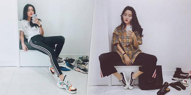 """Có ai như Bích Phương, giảm cân cho chân dài miên man chỉ để diện giày khủng sneakers cho """"manly"""""""