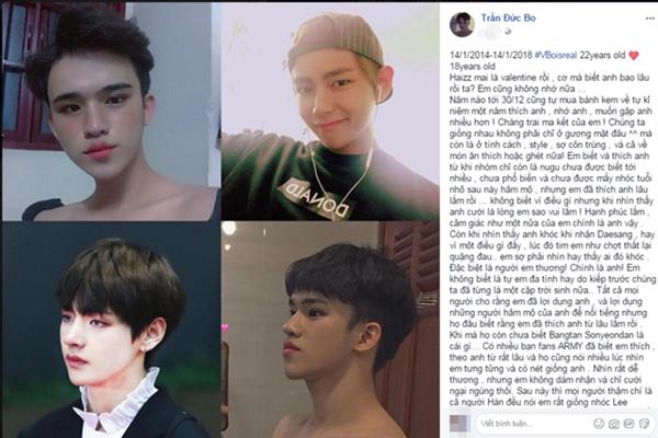 """Trần Đức Bo viết tâm sự """"dài như sớ"""" thể hiện tình yêu với V (Kim Tae-hyung) nhân Valentine khiến dân mạng đọc thấy """"ớn"""""""