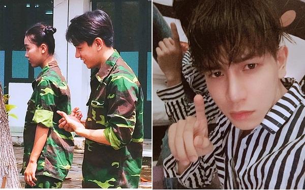 """Tập duyệt đóng quảng cáo cùng Sơn Tùng M-TP, hot boy mặc áo lính liên tục bị chụp lén vì """"góc nghiêng thần thánh"""""""