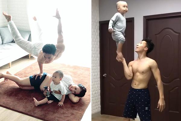 Màn diễn xiếc mạo hiểm đến thót tim của Quốc Nghiệp với vợ bầu và con trai 2 tuổi: Đúng là nhà nghề!