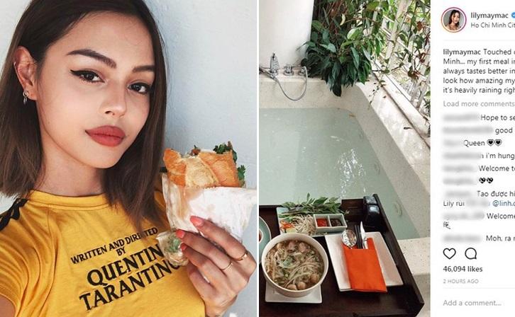 """Hot girl """"môi dày"""" Lily Maymac bất ngờ check-in tại một khách sạn ở Sài Gòn, ca ngợi món ăn Việt Nam"""