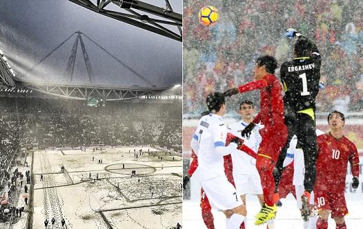 Một trận bóng đá ở châu Âu hoãn vì tuyết rơi khiến fan U23 Việt Nam bức xúc nhớ lại trận chung kết U23 châu Á