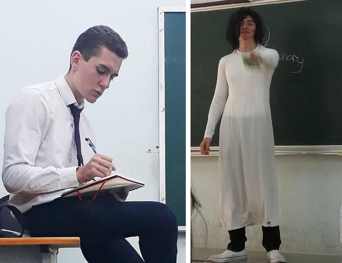 """Thầy giáo """"tây"""" hóa trang """"lầy lội"""" với áo dài trắng trên giảng đường là ai?"""