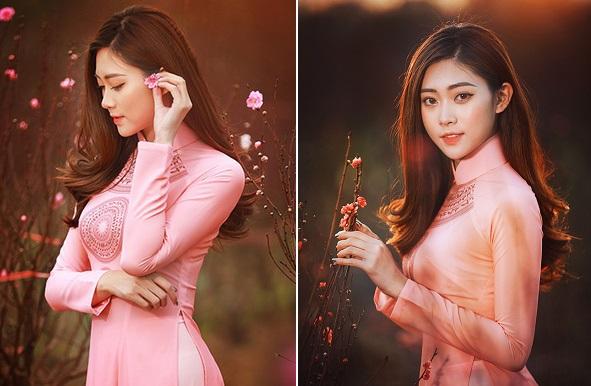 Thấy Tết quá gần với hình ảnh thiếu nữ áo dài hồng thướt tha trong khu vườn đầy hoa đào nở