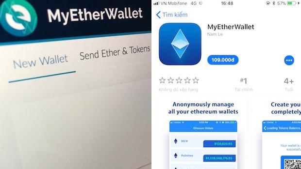 Ví điện tử giả mạo MyEtherWallet đứng top App Store nghi của tác giả người Việt