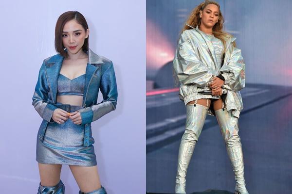"""Học tập Beyoncé diện đồ ánh bạc nhưng Tóc Tiên chơi trội với chiếc """"bốt voi"""" lạ hoắc"""