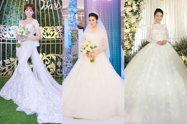 """Đám cưới đúng là """"cuộc đua"""" váy vóc của mỹ nhân Vbiz, ít thì 2 chiếc như Hari Won, không thì cũng phải diện một lần 3 cái như Á hậu Tú Anh"""