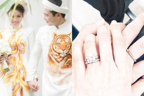 """Cận cảnh chiếc nhẫn cưới kim cương bạc tỷ của Lan Khuê ai nhìn cũng phải """"hoa mắt"""""""