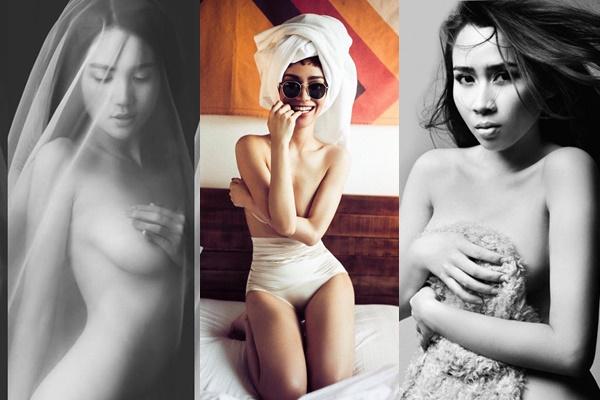 """""""Đốt mắt"""" với những bức hình """"lấy tay che ngực"""" nửa kín nửa hở, hững hờ của các mỹ nhân Việt"""