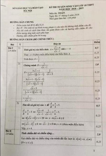 Sở GD&ĐT Hà Nội công bố đáp án và cách tính điểm môn Toán vào lớp 10