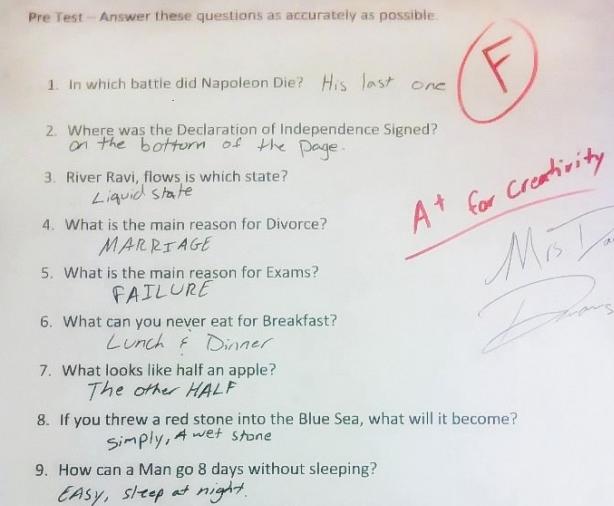 """Thầy cô """"khóc dở mếu dở"""" với những câu trả lời sáng tạo """"bá đạo"""" trong bài kiểm tra của học sinh"""