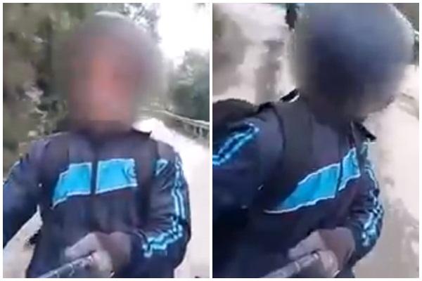 """Vừa lái xe đổ đèo vừa cầm gậy tự sướng quay clip, nam thanh niên """"ăn no gạch"""" vì coi thường tính mạng của mình"""