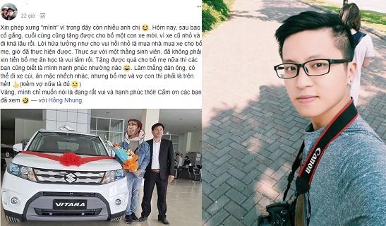 Chân dung chàng sinh viên ĐH Luật đẹp trai, tài giỏi lại còn có hiếu: Mua ô tô tặng bố nhờ làm thêm suốt 2 năm