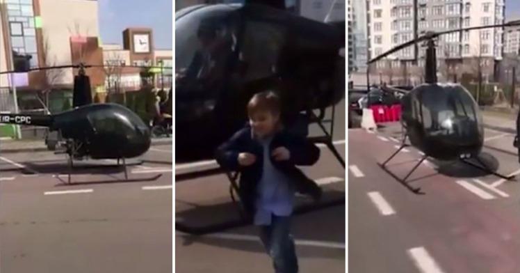 Con muộn học, bố lái trực thăng phi thẳng tới trường