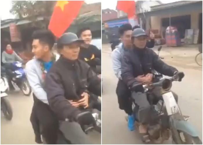 """Các cầu thủ khác đi ô tô về quê, chàng""""soái trùm"""" của U23 Việt Nam được bố đón về bằng chiếc xe máy cũ"""