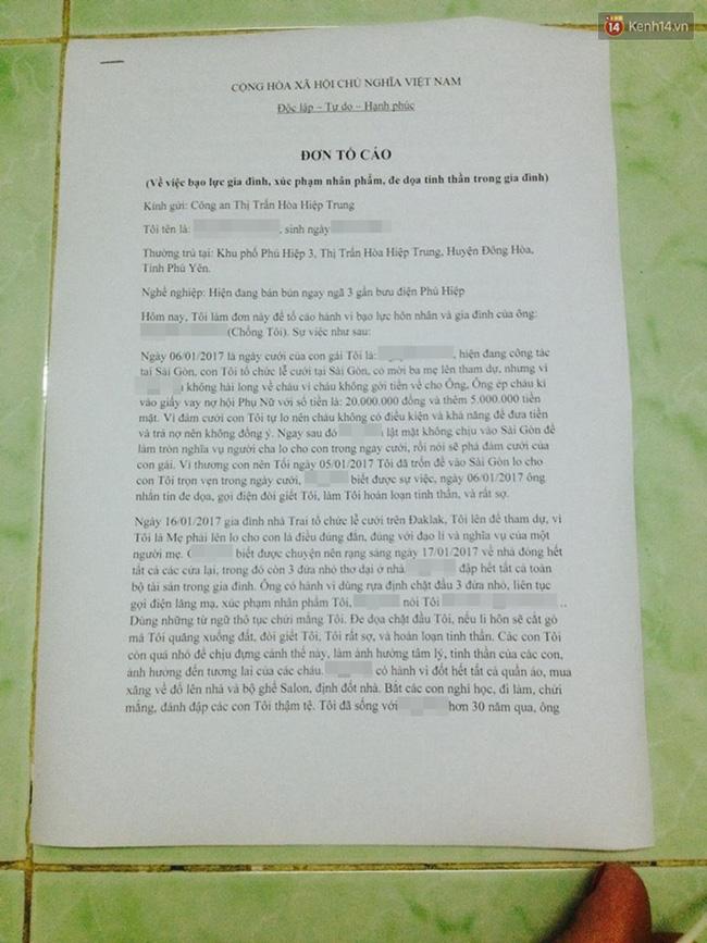 Đơn tố cáo gửi cơ quan công an thị trấn Hòa Hiệp Trung.