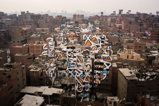 Bức tranh nghệ thuật khổng lồ thay đổi diện mạo thủ đô Ai Cập
