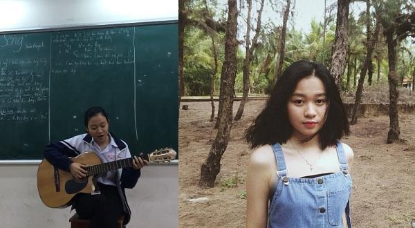 Nữ sinh thể hiện bài thơ Sóng - Xuân Quỳnh bằng tiếng đàn và giọng hát ngọt ngào khiến cả lớp xuyến xao