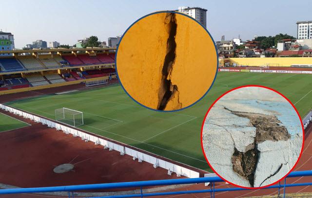 Chuẩn bị diễn ra trận Việt Nam - Campuchia, sân Hàng Đẫy có mặt cỏ đẹp nhưng khán đài xuống cấp nghiêm trọng