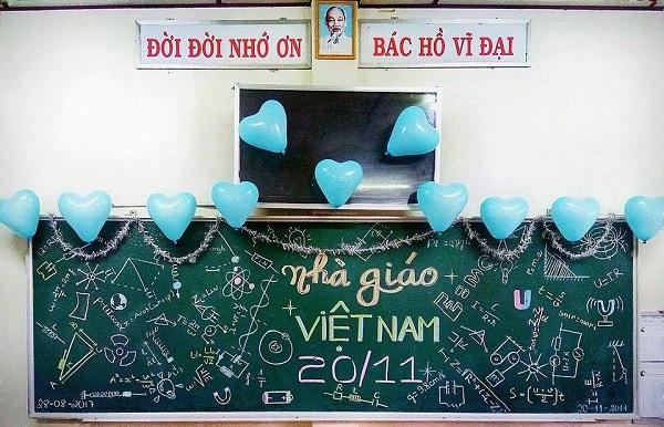 Độc đáo màn trang trí bảng chào mừng 20/11 chúc mừng giáo viên chủ nhiệm của học trò năm nay