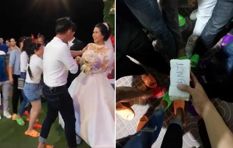 Hội bạn thân rủ nhau diện dép tổ ong 7 màu đến dự đám cưới, nhưng quà cưới mới là điều khiến cô dâu chú rể bất ngờ