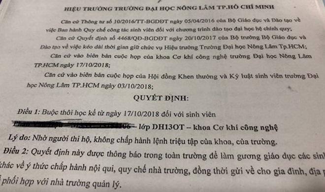 ĐH Nông Lâm TP HCM đình chỉ học 18 sinh viên và buộc thôi học 1 sinh viên vì nhờ người thi hộ