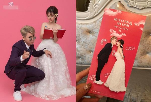 """Lộ thiệp mời cưới của vlogger Huy Cung và vợ hot girl, lời mời bên trong khiến ai cũng phải """"mắt chữ O miệng chữ A"""""""