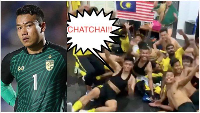 """Ăn mừng thắng, cầu thủ Malaysia tung clip mỉa mai thủ môn Thái Lan vì """"to mồm gáy"""" trước trận đấu"""