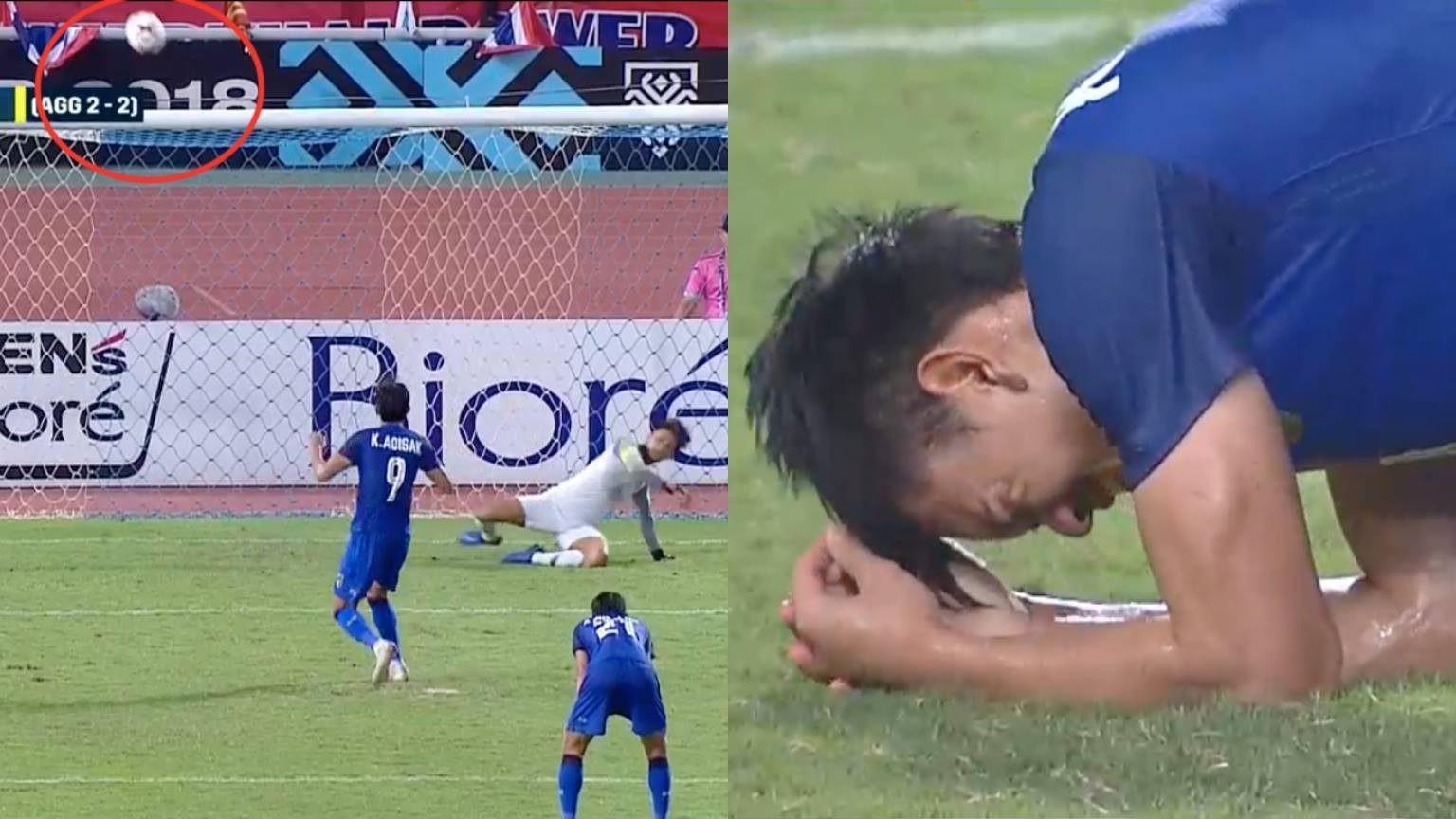 Ở những giây bù giờ cuối cùng, Thái Lan được hưởng quả phạt đền sau khi hậu vệ Malaysia dùng tay cản bóng trong khu cấm địa. Adisak Kraisorn lãnh trách nhiệm nặng nề và trước sức ép ngàn cân, anh đã đưa bóng đi lên trời, vứt đi cơ hội quý như vàng để đưa Thái Lan vào chung kết.