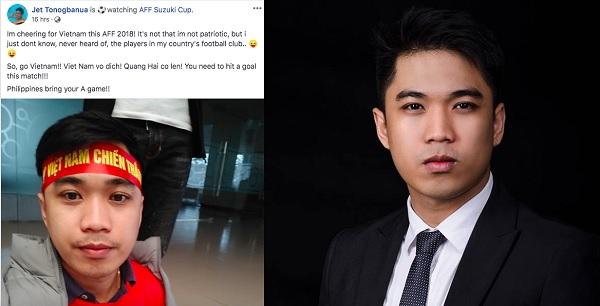 """Thầy giáo điển trai người Philippines """"quay lưng"""" với đội nhà cổ vũ cho ĐT Việt Nam, muốn Việt Nam vô địch AFF Cup 2018"""