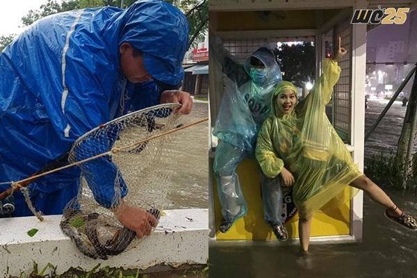 """Mặc mưa bão, lụt lội, người dân Đà Nẵng vẫn rủ nhau đi bắt cá, thậm chí """"tổ chức cả cuộc thi bơi lội"""""""
