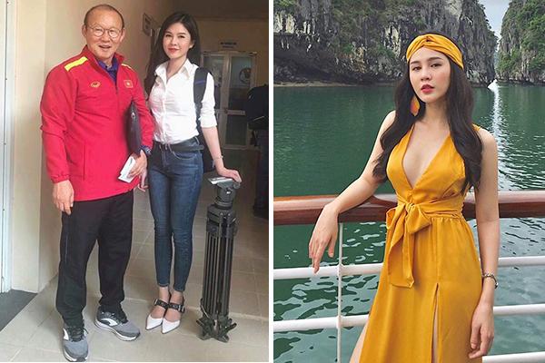 """Danh tính """"cực khủng"""" của nữ phóng viên xinh đẹp luôn theo chân đội tuyển Việt Nam trên mọi mặt trận"""