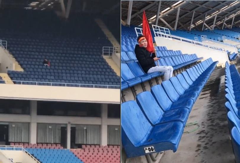 """CĐV """"ngáo nhất năm"""": Một mình đội mưa đến sân Mỹ Đình cổ vũ bóng đá trận lượt đi Malaysia và Việt Nam vì nhầm lịch"""