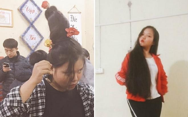 Nữ sinh Hòa Bình làm cây thông trên tóc, mang cả không khí mùa Noel đến lớp