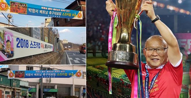 Quê nhà thầy Park treo đầy băng-rôn như mở hội mừng ngôi vô địch AFF Cup