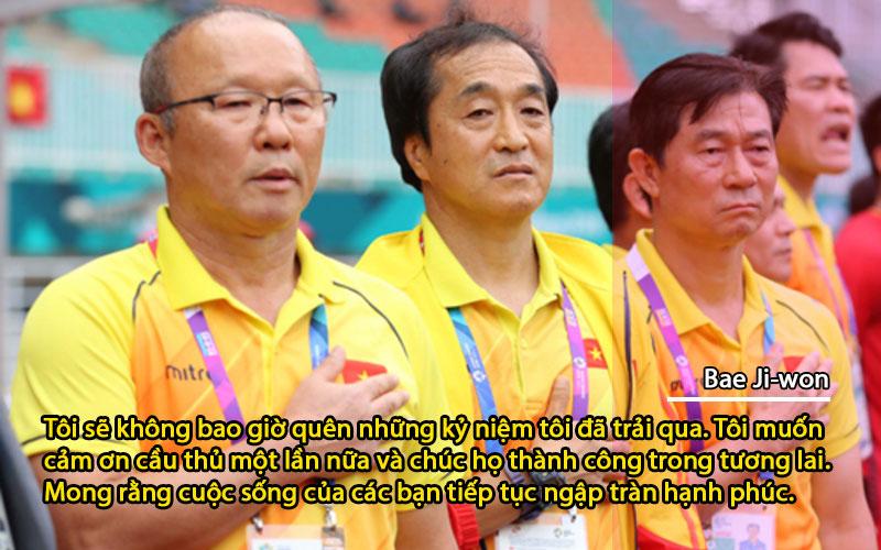 """""""Cảm ơn các thành viên trong ban huấn luyện vì đã tạo điều kiện tốt nhất để tôi hỗ trợ cầu thủ. Mong họ và gia đình có nhiều niềm vui... Cảm ơn Liên đoàn bóng đá Việt Nam đã cho tôi trải nghiệm này."""", ông Bae khép lại bức thư. (Trích thư từ VnExpress.net, ảnh tổng hợp)"""