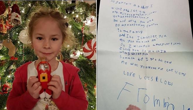Cô bé viết thư đòi cha trở về từ thiên đường vào đêm Giáng sinh, không ngờ nhận hồi âm