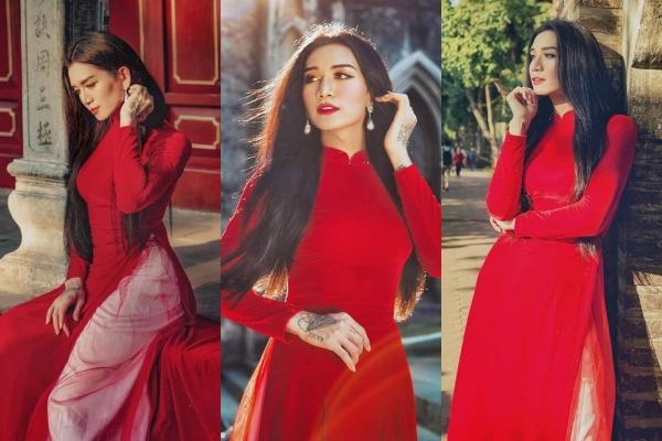 """BB Trần gây bão với bộ ảnh """"e ấp"""" trong áo dài đỏ truyền thống khiến hội chị em cũng phải ghen tị"""