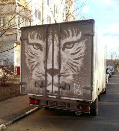 Vẻ hoang dại của một một chú hổ được thể hiện chân thật trên lớp bụi xe.
