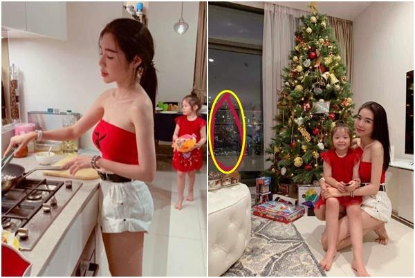 """Elly Trần khoe ảnh nấu ăn xinh đẹp với con gái, CĐM soi """"chi tiết lạ"""" phản chiếu trong gương giật mình"""