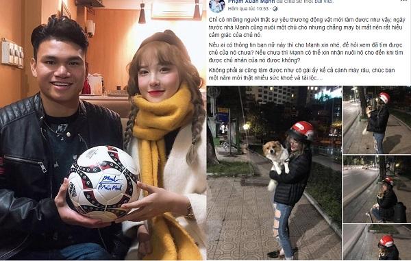 Cô gái tìm chủ cho chú chó bị lạc giữa đêm bất ngờ được cầu thủ U23 mến mộ, xin info khắp nơi để mong được gặp mặt