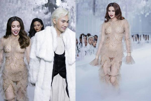 """Diễn trong show của NTK """"cưng"""", Hồ Ngọc Hà vẫn """"bị hại"""" để lộ vòng 2 cực lớn, mặt đánh trắng bệch"""